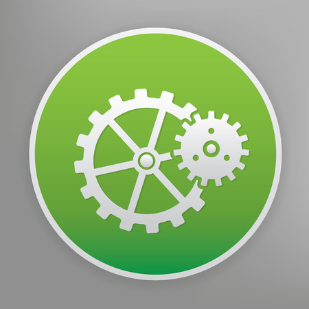 green button: Gear design icon on green button.