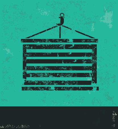 dockyard: Container design on green background,grunge vector Illustration