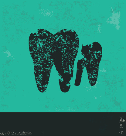 carious: Tooth design on green background,grunge vector