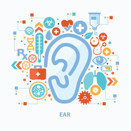 Ear concept design on white background,clean vector Illustration
