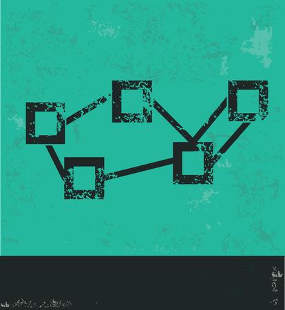 Graph strategy design on green background,grunge vector Illustration