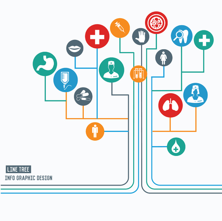 tree line: Medical and healthy concept,Line tree info graphic design,clean vector