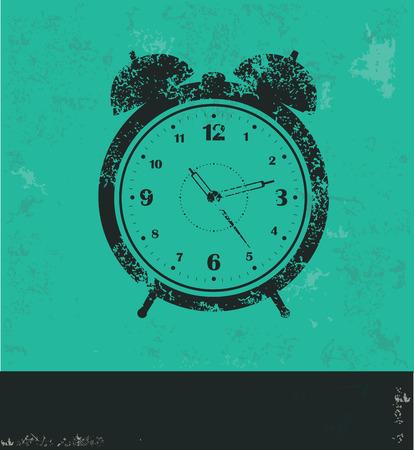 arousing: Clock design on green background,grunge vector Illustration
