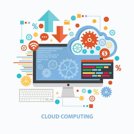 počítač: Cloud computing návrh koncepce na bílém pozadí, čistý vektor Ilustrace