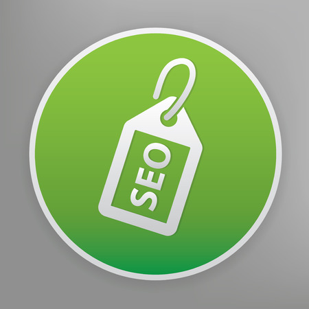 page rank: SEO tag design icon on green button, clean vector
