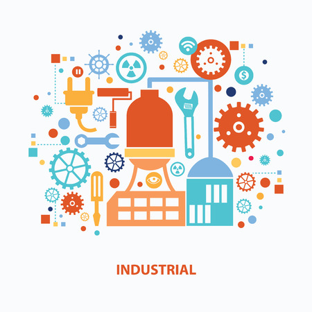 industry design: Factory and industry concept design on white background,clean vector Illustration