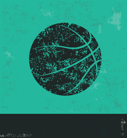 basketball: Basketball design on green background,grunge vector