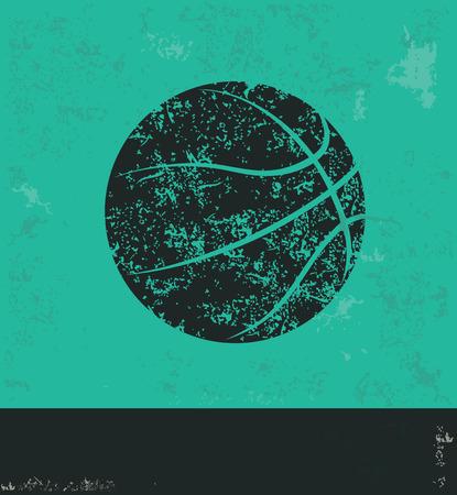 baloncesto: Diseño del baloncesto en el fondo verde, vector del grunge
