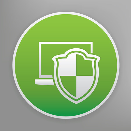 protected: Computer security design icon on green button, clean vector