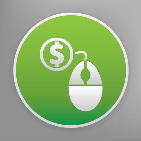 advertiser: Pay per click design icon on green button, clean vector