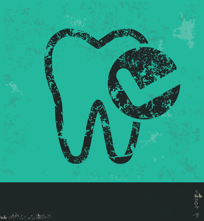 carious cavity: Teeth design on green background,grunge vector Illustration