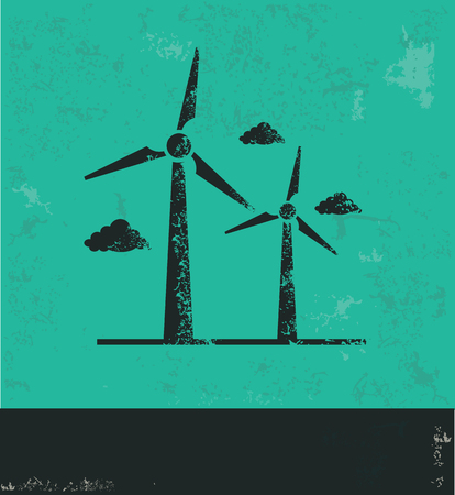 Wind turbine design on green background,grunge vector