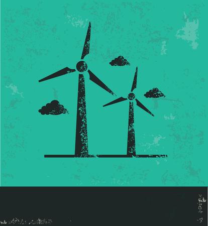 10eps: Wind turbine design on green background,grunge vector