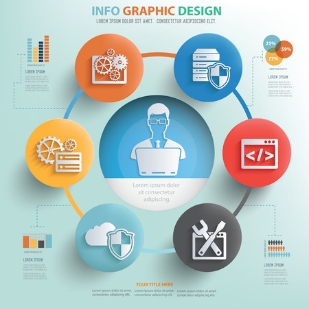 technical term: Database admin and technology info graphic design, Business concept design.