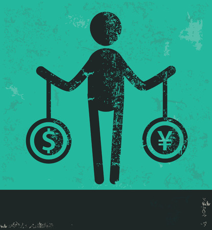 Human resource design on green background,grunge vector