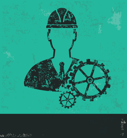 projects: Engineer design on green background,grunge vector