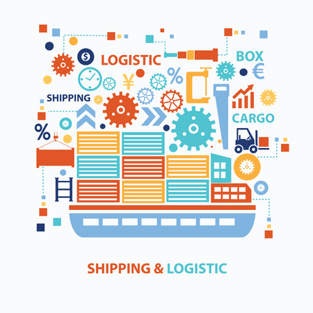 overseas: Shipping and logistic concept design on white background,clean vector Illustration