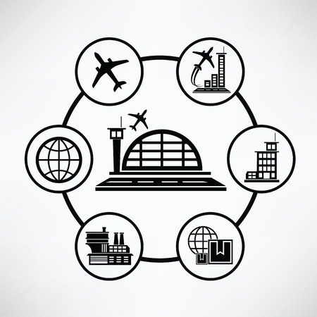 set going: Airport concept,Circle info graphic design,cle