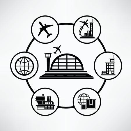 Concept de l'aéroport, d'informations Cercle conception graphique, article Banque d'images - 45075735