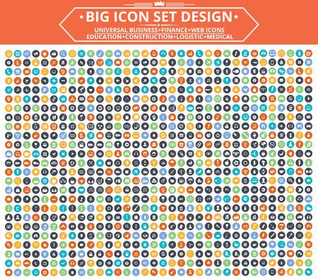 planos: Diseño Gran conjunto de iconos, universal, icono Sitio Web, Construcción, Finanzas, iconos médicos, vector limpia Vectores