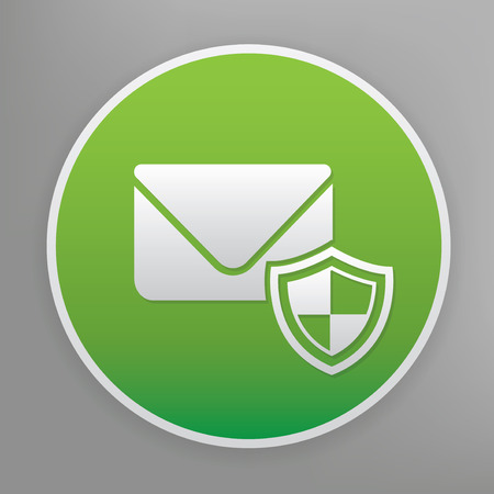 email security: Email security design icon on green button, clean vector