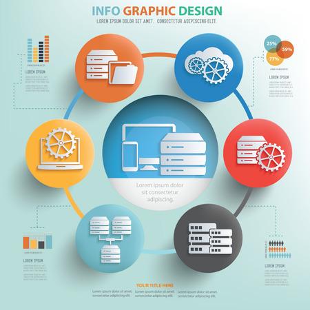 Database server concept info graphic design,vector