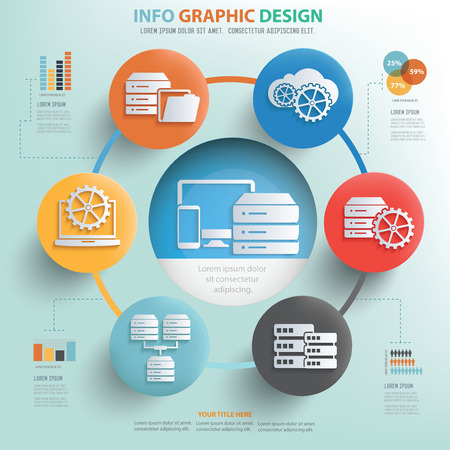 server rack: Database server concept info graphic design,vector