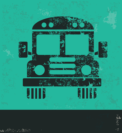 old school: School bus design on green background,grunge vector Illustration