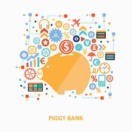 med: Piggy bank concept design on white background,clean vector