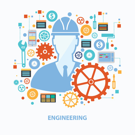engineering design: Engineering concept design on white background,clean vector