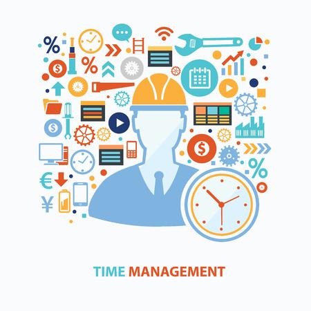 document management: Tiempo de diseño de concepto de gestión en el fondo blanco, vector limpia