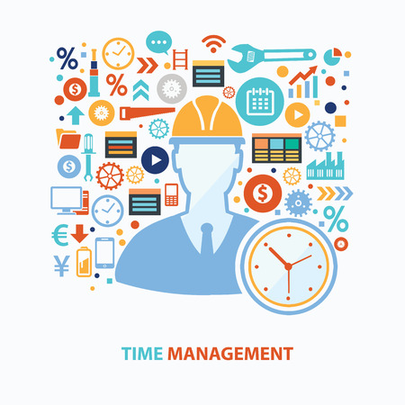 wealth management: Time management concept design on white background,clean vector