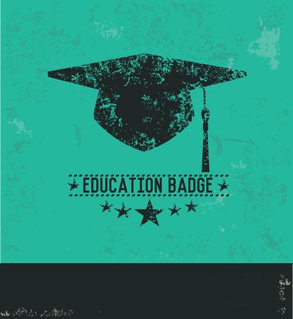 master degree: Education design on green background,grunge vector