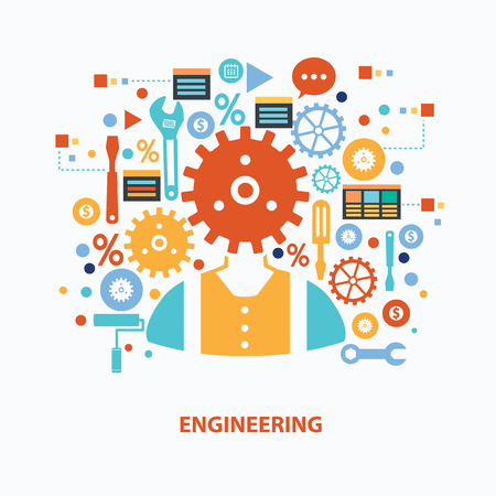 computer equipment: Engineering concept design on white background,clean vector