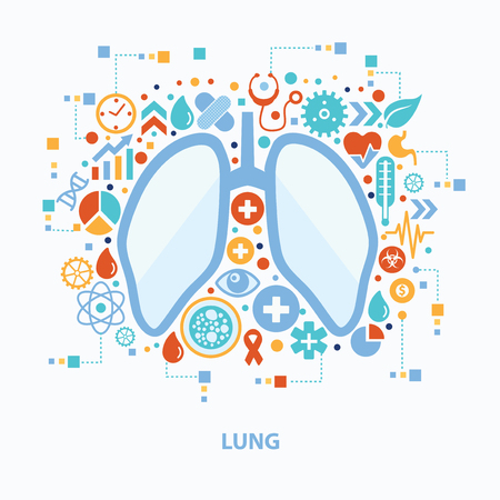 Lung concept design on white background,clean vector