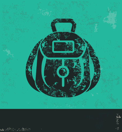 Bag design on green background,grunge vector