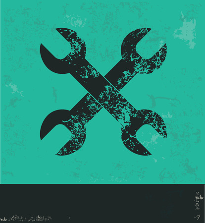 reconditioning: Repair design on green background,grunge vector Illustration