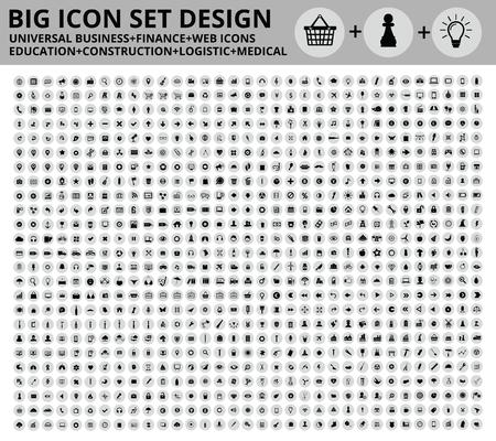 Grote Icon set ontwerp, Universal, Website pictogram, Bouw, Financiën, Medische pictogrammen, schoon vector Stock Illustratie