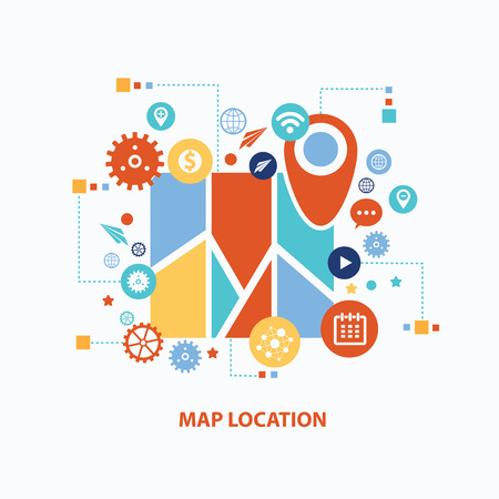 Map location concept design on white background,clean vector 向量圖像
