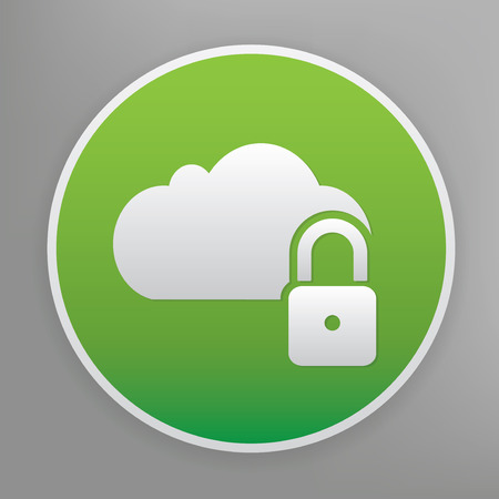 green button: Lock cloud design icon on green button, clean vector Illustration