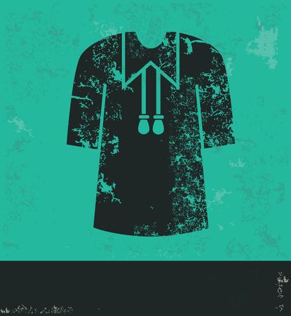 master degree: Education cloth design on green background,grunge vector Illustration