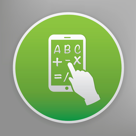 Tablet PC design icon on green button, clean vector Illustration