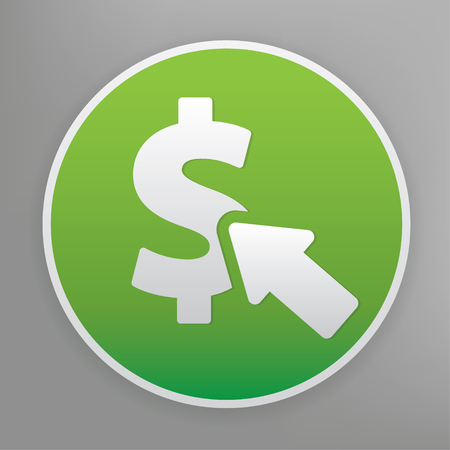 emarketing: Pay per click design icon on green button, clean vector