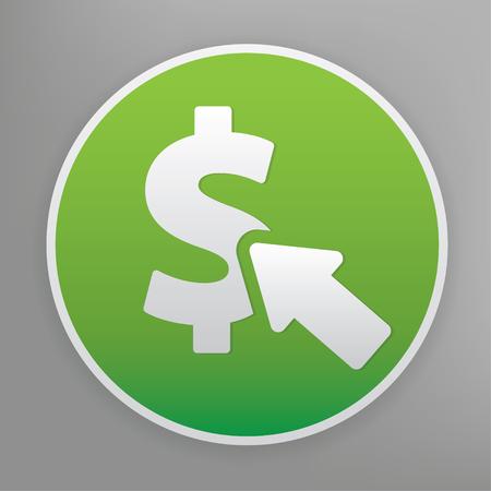 per: Pay per click design icon on green button, clean vector
