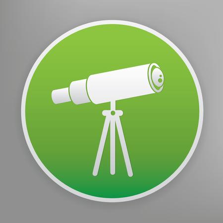 Telescope design icon on green button, clean vector