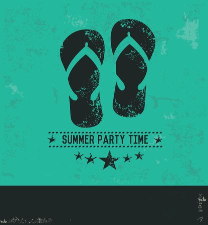 lightweight: Sandal design on green background,grunge vector