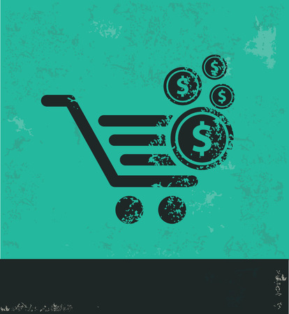 cart button: Shopping cart design on green background,grunge vector Illustration