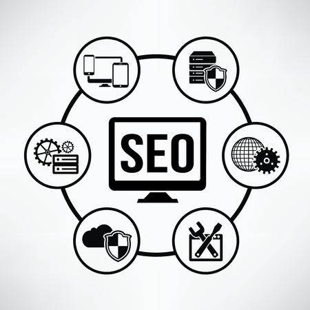 article writing: SEO development,Circle info graphic design,clean vector