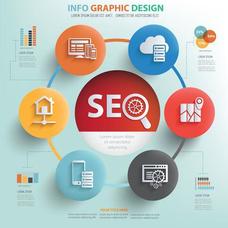 smm: SEO and web development concept info graphic design,vector