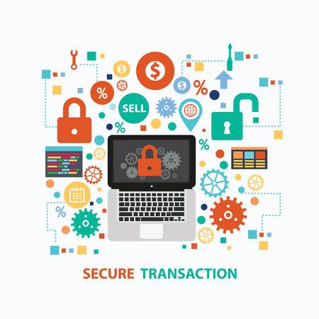infomation: Secure transaction concept design on white background,clean vector Illustration